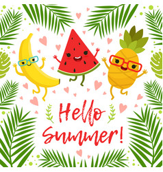 Funny tropical fruits on the summer party vector