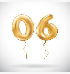 golden number 06 zero six metallic balloon party vector image
