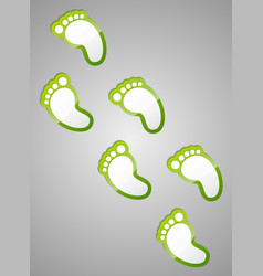 Green footprints vector image