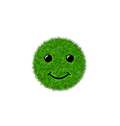 green grass circle field 3d face smile smiley vector image