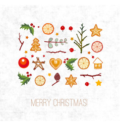greeting card with christmas decorations vector image