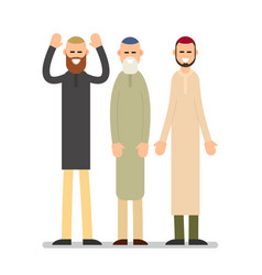 group muslim arabic people men standing together vector image