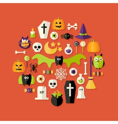 Halloween Flat Icons Set Over Red vector