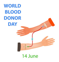hand donor recipient dropper world blood donor day vector image
