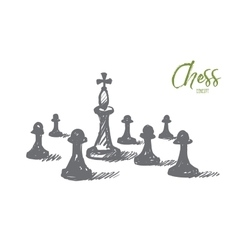 Hand drawn chess king between pawns with lettering vector image