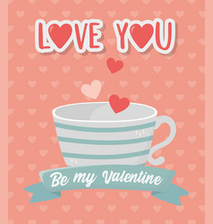 Happy valentines day striped coffee cup and hearts vector