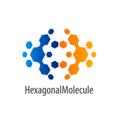hexagonal molecule flip logo concept design vector image