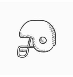 Hockey helmet sketch icon vector image
