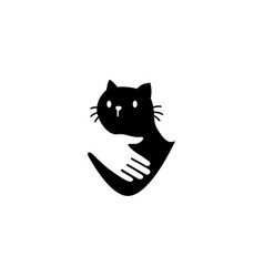 human hand hugs cat in negative space logo icon vector image