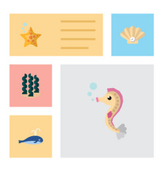icon flat nature set of whale sea horse seaweed vector image