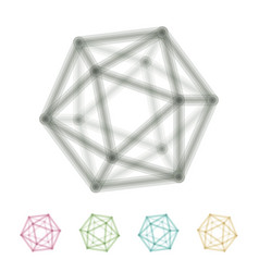 Icosahedron transparent wireframe vector