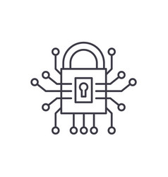 information security line icon concept vector image
