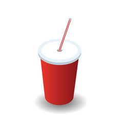 isometric red plastic glass with lid and straw vector image