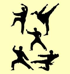 karate martial art gesture silhouette 01 vector image