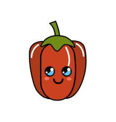 kawaii cute thinking pepper vegetable vector image