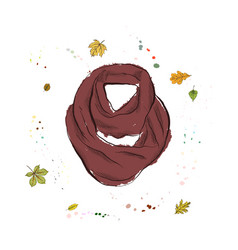 Knitted scarf of burgundy color accessories on vector