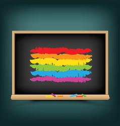 Lgbt rainbow flag on school background vector