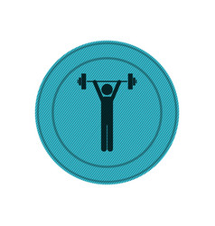 Light blue circular frame with man weightlifting vector