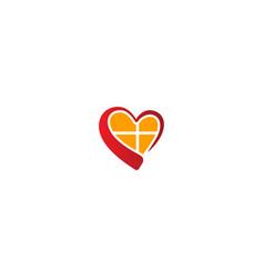 love heart window logo vector image