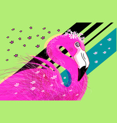 lovely pink flamingo in colors portrait vector image
