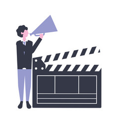 Man with speaker clapperboard production movie vector