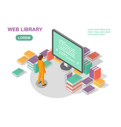 media book library concept reading web archive vector image