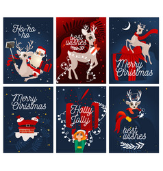 merry christmas greeting cards cute design vector image