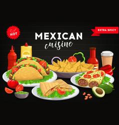 mexican cuisine menu cover mexico food tacos vector image