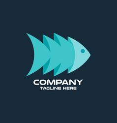 modern abstract 3d fish logo vector image