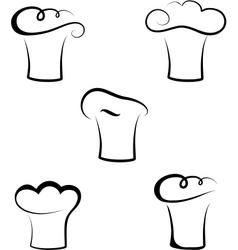 Monochrome set of chef hats vector