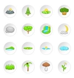 Nature landscape icons set cartoon style vector