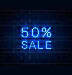 neon 50 sale text banner night sign vector image