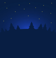 night winter forest with stars vector image