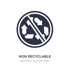 Non recyclable icon on white background simple vector