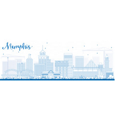 Outline memphis skyline with blue buildings vector