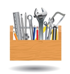 Professional tool with wooden box isolated on vector