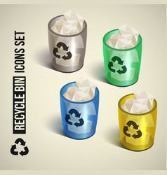 Realistic recycle bin icons set vector