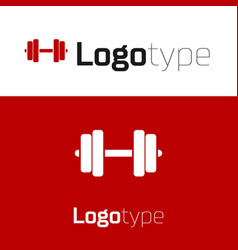 Red dumbbell icon isolated on white background vector