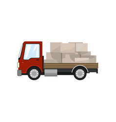 Red small cargo truck with boxes isolated vector