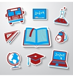 School education sticker icons set with - globe vector