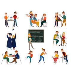 school students cartoon set vector image