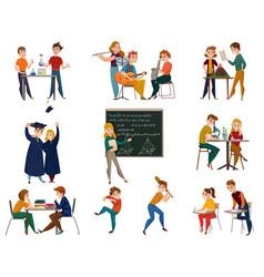 School students cartoon set vector