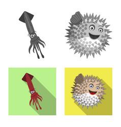 Sea and animal icon vector