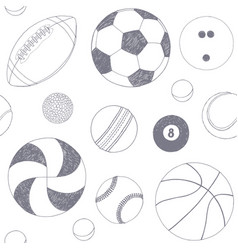 Seamless pattern with set of sport balls hand vector
