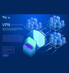 Secure virtual private network concept isometric vector
