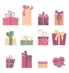 set different gift boxes flat design vector image