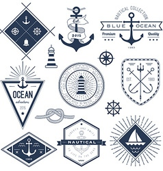 set nautical logos badges and labels vector image