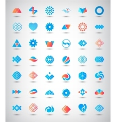 Set of 42 abstract logos icons vector