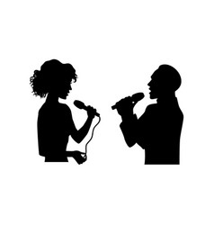 Silhouettes of singing man woman half length vector