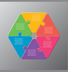 six pieces puzzle jigsaw triangle info graphic vector image